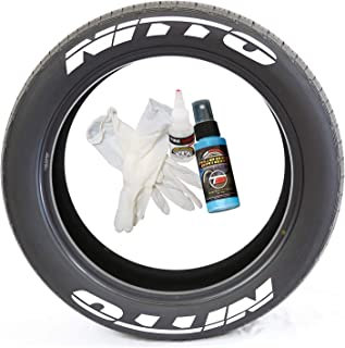 Tire Stickers Nitto Tire Lettering - DIY Permanent Glue On Rubber Decals for Tires with Glue & 2oz Bottle Touch-Up Cleaner / 17-18 Inch Wheels / 1.25 Inches/White / 8 Pack