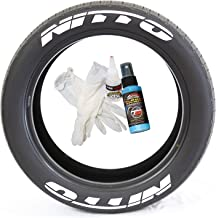 Tire Stickers Nitto Tire Lettering - DIY Permanent Glue On Rubber Decals for Tires with Glue & 2oz Bottle Touch-Up Cleaner / 19-21 Inch Wheels / 1.00 Inches/White / 8 Pack