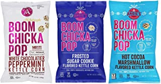 Angie's Boom Chicka Pop Limited Edition Holiday Bundle Kettle Corn- White Chocolatier Peppermint, Frosted Sugar Cookie, Hot Chocolate Marshmallow