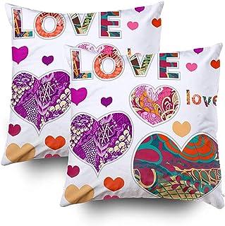 2PC 18X18,My Pillow Case,Throw Square Pillow Cover,Fundas De Cojines Zentangle Ornament Funda De Almohada con Cremallera En Ambos Lados,Rojo Verde