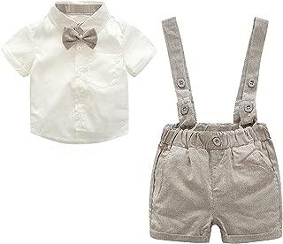 HUMMIJA Baby Boy 2Pcs Gentleman Bow Tie Cotton T-Shirt Suspenders Shorts Set