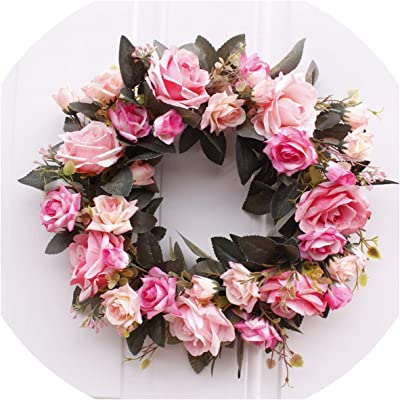 Wall 35cm Pink Flower Door Wreath with Green Leaves Spring Wreath for Front Door Takefuns Artificial Peony Flower Wreath Home Decor Wedding