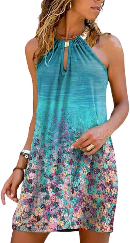 Dress for Women Casual Summer,Women's Halter Neck Mini Dress T Shirt Dresses Vintage Beach Boho Tank Dress Sun Dresses