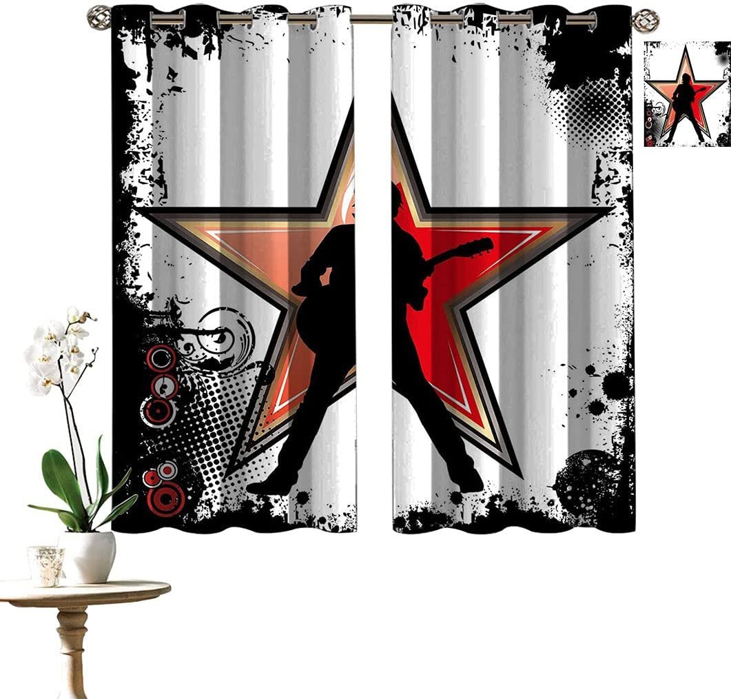Rock Max 58% OFF Music Printed Curtains Guitar Star Monochr Player Max 61% OFF Abstract