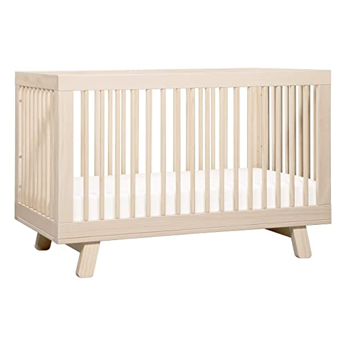 Babyletto Hudson 3-in-1 Convertible Crib with Toddler Bed Conversion Kit, Washed Natural