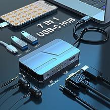 Hub USB C,Adaptador USB C 7 en 1 con HDMI 4K,VGA,2 puertos USB 3.0,Puerto USB-C,Audio de 3.5 mm,Adaptador Multipuerto de H...