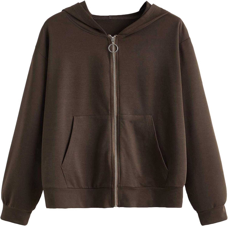 SheIn Women's Plus Zip Up Long Sleeve Drop Shoulder Hoodie Sweatshirts with Pocket
