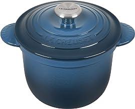 وعاء الأرز من الحديد الزهر المطلي بالمينا من لو كريست مع مقبض SS وحشوة من الفخارية، 2.25 لتر، أزرق مخضر غامق
