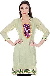 Devaleena Creations Kutchii Embroidered Patch work Necklne Pure Linen Kurta For Ladies