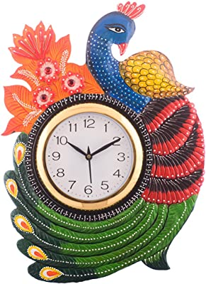 eCraftIndia Exotic and Stylish Colorful Peocock Wooden Handcrafted Wooden Wall Clock (H - 16.5 Inch)