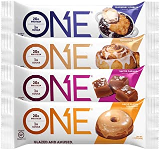 Oh Yeah! One Bar, NEW Compliant Variety Pack, 2.12 oz/12 bars (3 Cinnamon Roll, 3 Salted Caramel, 3 Maple Glazed Doughnut, 3 Blueberry Cobbler)