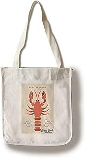Provincetown, Cape Cod, Massachusetts - Lobster - Simple Color Block (100% Cotton Tote Bag - Reusable)