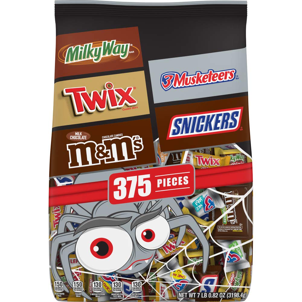 Mars Chocolate Favorites Halloween Candy Bars Variety Mix Bag (TWIX, MILKY WAY, SNICKERS, 3 MUSKETEERS, M&M'S Brands), 112.82 Oz, 375 Pieces : Grocery & Gourmet Food
