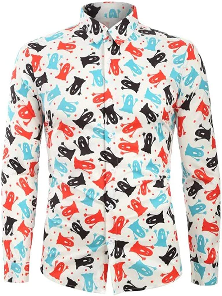 Holzkary Fashion Funny Printed Party Pullover Loose Soft Long Sleeve Turn-Down Collar Shirts Halloween Tops for Men