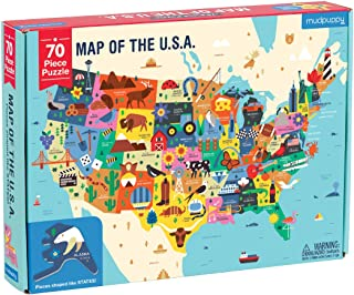 """Mudpuppy Map of The United States of America Puzzle, 70 Pieces, 23""""x16.5, Ideal for Kids Age 5+, Learn All 50 States by Name, Capital City, and More, Double-Sided Geography Puzzle"""