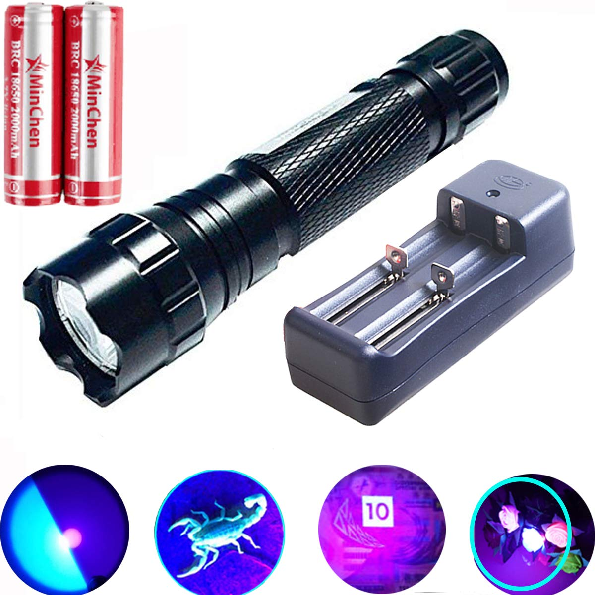 MinChen Flashlight 395 410nm Rechargeable Ultraviolet