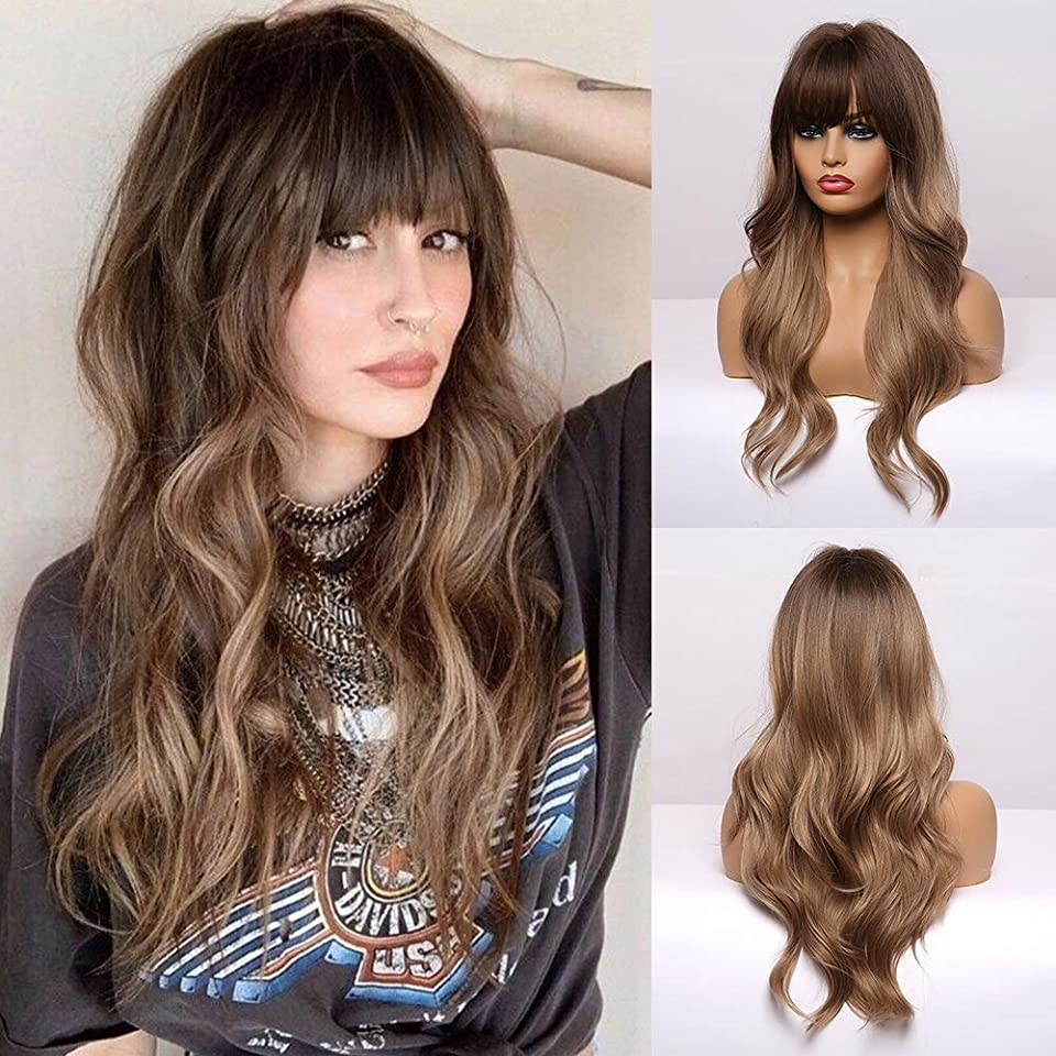 EMMOR Long Brown Wigs for Women - Natural Wavy Hair Synthetic Wigs With Bang (Free Wig Cap)