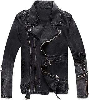 chouyatou Men's Distressed Double-Zip Belted Ripped Biker Denim Jean Jacket