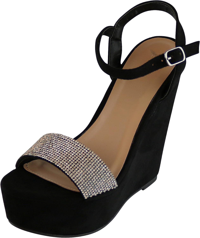 Cambridge Select Women's Crystal Rhinestone Ankle Strappy Platform Wedge Dress Sandal