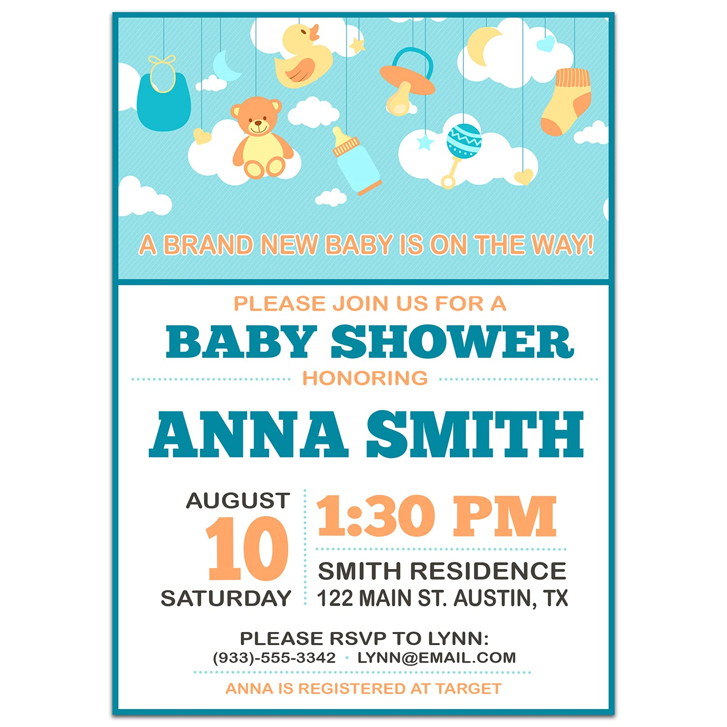 Mobile Mesa Mall Reservation Clouds Baby Invitations Shower