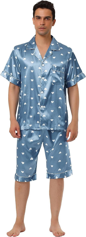 Lars Amadeus Men's Satin Pajama Set Cute Heart Print Button Down Short Sleepwear Loungewear Pjs Sets