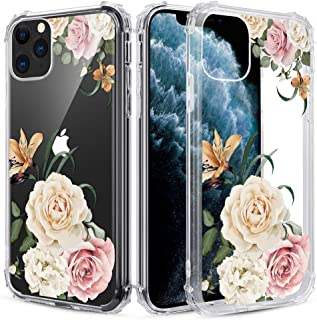 Caka Clear Case for iPhone 11 Pro Floral Clear Case Flower Pattern Design Girly Women Girls Cute Slim Soft Flexible TPU Transparent Shockproof Protective Case for iPhone 11 Pro 5.8 inches (Camellia)
