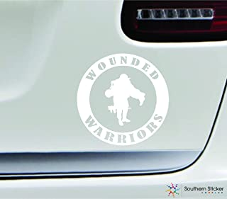 Wounded warriors symbol 5.4x5.4 white marine navy army military soldier veteran united states america color sticker state decal vinyl - Made and Shipped in USA