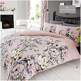 Gaveno Cavailia Floral Duvet Cover Quilt Set with Pillow Case, Reversible, Poly Cotton, Eden Pink, King Bed Size, Polycotton