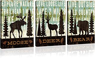 wall art for living room bathroom Bedroom home wall decor 3 Panels Canvas Print moose deer bear Christmas tree animal Pictures Modern Stylish, landscape Painting Artwork Wooden Framed Decor Poster