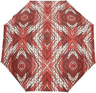 FAJRO Special Painting Poinsettia Knitting Pattern Three fold Travel Umbrella Automatic Umbrellas for Rain Outdoor/Women/Men