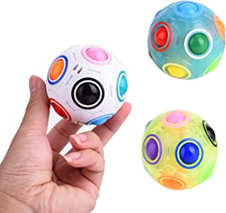 USATDD Rainbow Puzzle Ball Cube Bundle with Pouch Color-Matching Game Fidget Toy Stress Reliever Magic Ball Brain Teaser for Kids and Adults, Children, Boy, Girl Holiday Set of 3