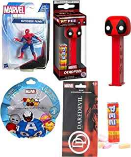Red Men Heroes Marvel Comics Collection Deadpool Pez Head Figure Bundled with & Daredevil Decal + Spider-Man Figure + Tsum Blind Bag Mini Character Figure 4 Items