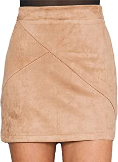 Simplee Apparel Women's High Waist Faux Suede Mini Short Bodycon Skirt