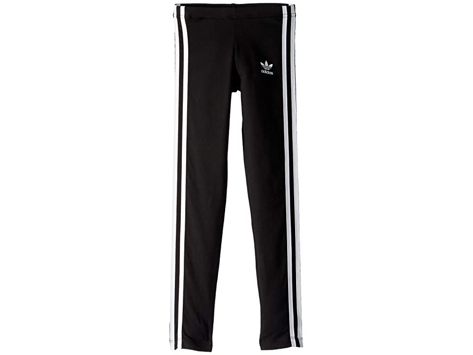 Image of adidas Originals Kids 3-Stripes Leggings (Little Kids/Big Kids) (Black/White 2) Girl's Casual Pants