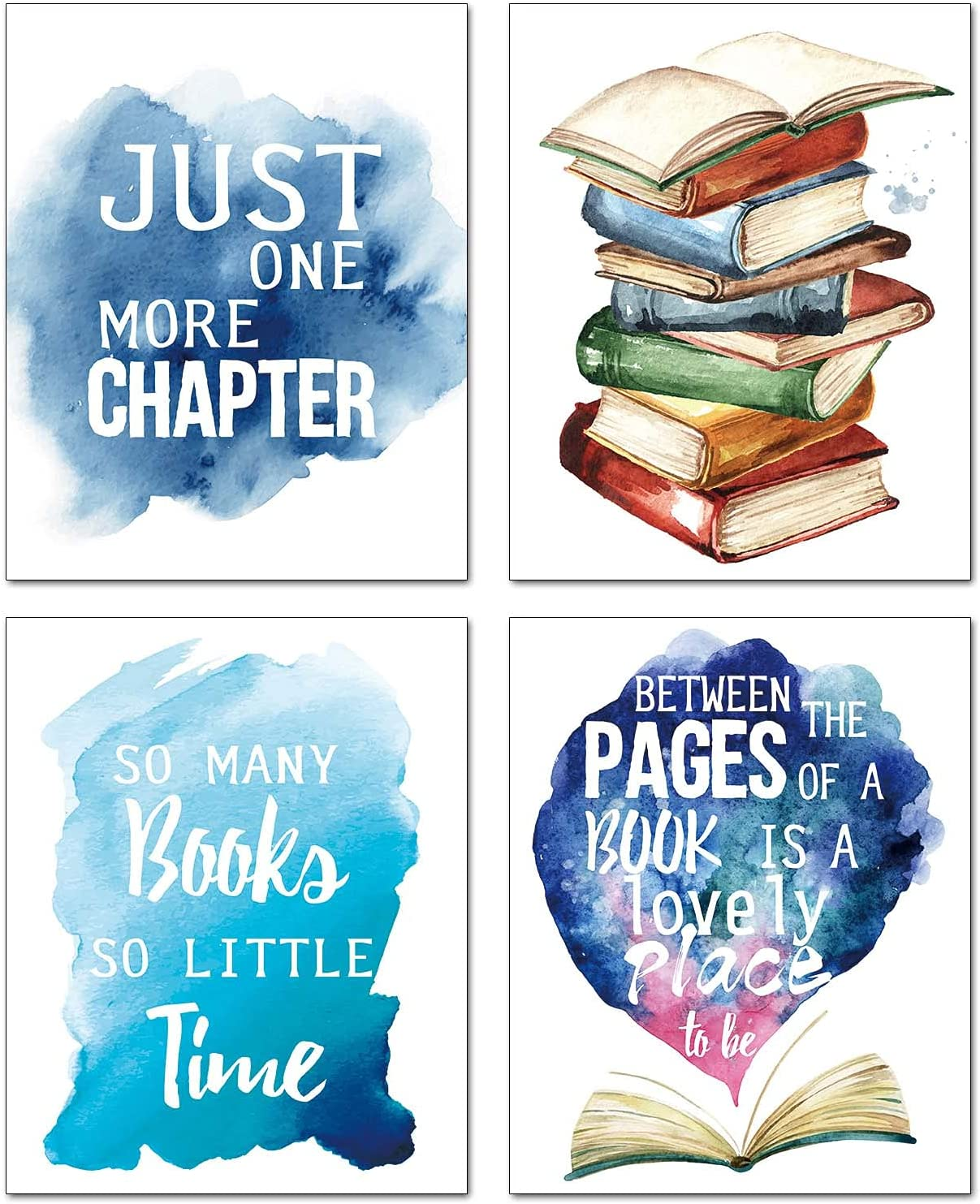 """Modern Inspirational Reading Poster Quotes Wall Art Prints Readers Book Lovers Bookworm Student Classroom Kids Bedroom Nursery School Art Painting Set of 4 ("""" 8X10""""Canvas Picture) Home Decor Unframed"""