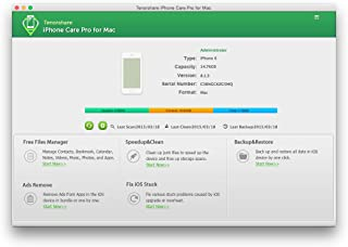 Tenorshare iPhone Care Pro for Mac - clean up junk files, tune up iOS performance, manage files for iOS devices, fix iOS stuck, remove app-in ads, and backup and restore iPhone, iPad, iPod. [Download]