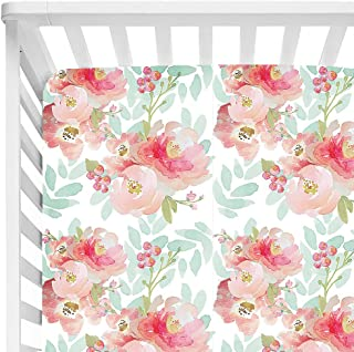 Baby Floral Fitted Crib Sheet for Boy and Girl Toddler Bed Mattresses fits Standard Crib Mattress 28x52