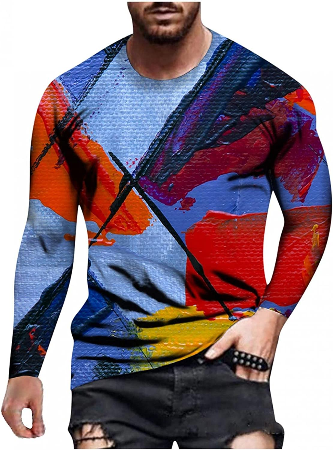 Burband Mens Tie Dye Pullover Sweatshirts Long Sleeve Big and Tall Graphic Tees Autumn Winter Casual Novelty Sport Tops
