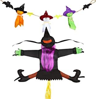 Sumind 2 Pieces Halloween Hanging Decoration, Bash Crashing Witch Into Tree Halloween Decoration and Ghost Banner for Pati...