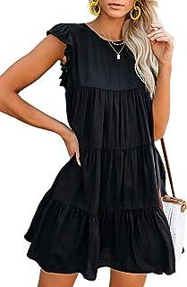 Eytino Women Casual V Neck Bell Sleeve Ruffle Tiered Pleated Loose Mini Swing Shift Dresses(S-XL)