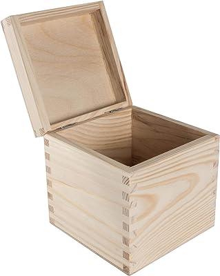 Caja de madera cuadrada pequeña con tapa | 13 x 13 x 13 cm | almacenamiento de recuerdos | sin pintar y sin tratar madera de pino decorativa para manualidades decoupage: Amazon.es: Bricolaje y herramientas