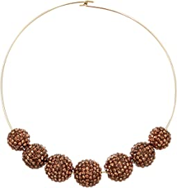 Gold Wire Topaz Pave Bead Necklace