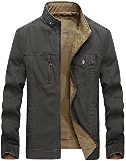 Luckyoung Men's Pure Cotton Jacket & Coats Casual Reversible Military Zip Windbreaker