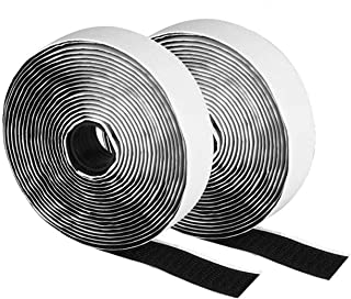 LMJWJ 2 Rolls 4M/5M Black Hook And Loop Self Adhesive Fastener Strong Strip 1Tape Nylon Sticker Adhesive Tape Cable Gadget...