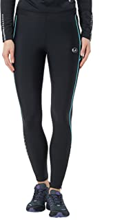 (L, Black-Black/Neon Turquoise) - Ultrasport Women's Running Pants Long with Compression Effect & Quick-Dry-Function