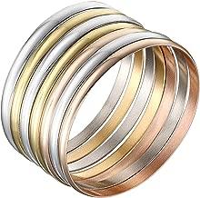 Castillna Set of 7 Tri-Color Silver/Gold/Rose Gold Stainless Steel Bangle Bracelet