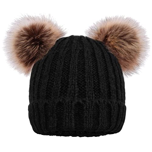 Arctic Paw Cable Knit Beanie with Faux Fur Pompom Ears 978a5efc70c3