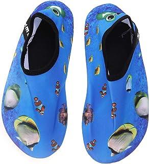 LIOOBO, Zapatos de agua de playa para niños de secado rápido Verano suave antideslizante, natación, surf, buceo, calcetines, zapatillas de deporte para niños (Ocean Fish 40/41)
