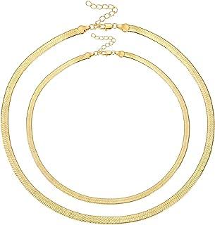 Fiuse 14K Gold Plated Herringbone Choker Necklaces Snake...