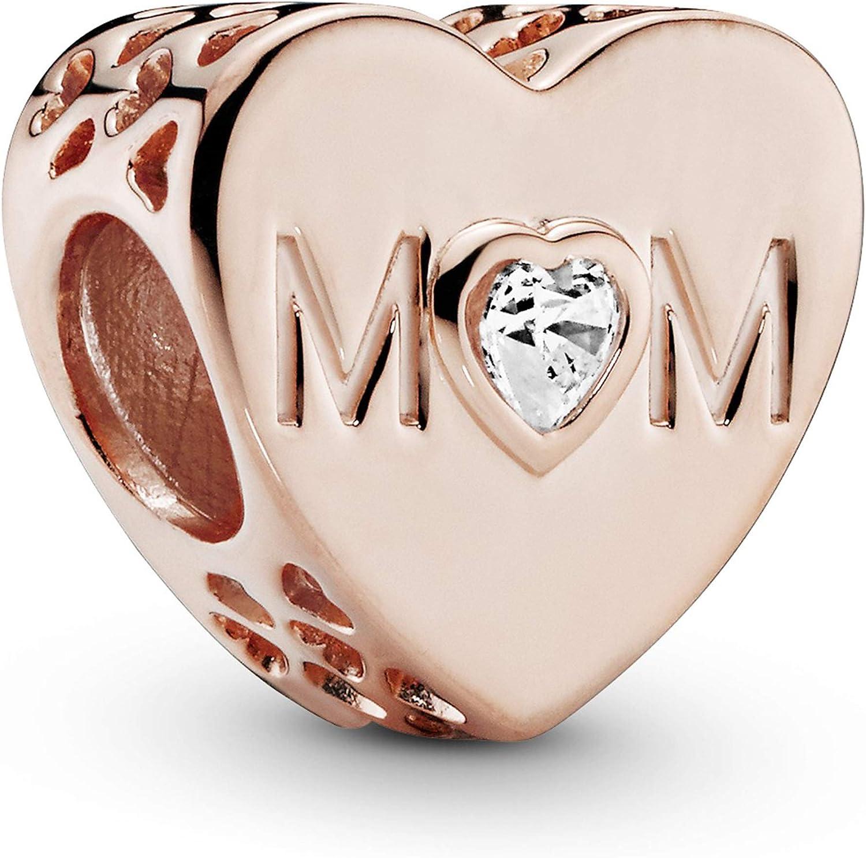 Pandora Jewelry Clear Mom Heart Cubic Zirconia Charm in Pandora Rose